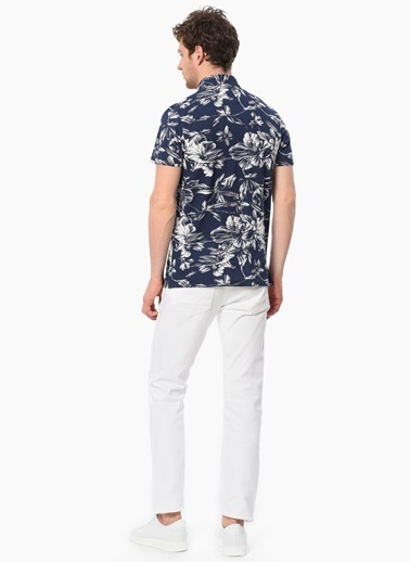 Network Slim Fit Çiçekli Polo Yaka Tişört Lacivert